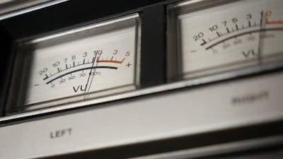 Slow motion of standard volume level  scale 1080p FullHD footage - Vintage audio device analog VU me