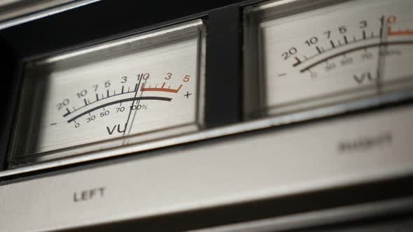Thumbnail for Slow motion of standard volume level  scale 1080p FullHD footage - Vintage audio device analog VU me