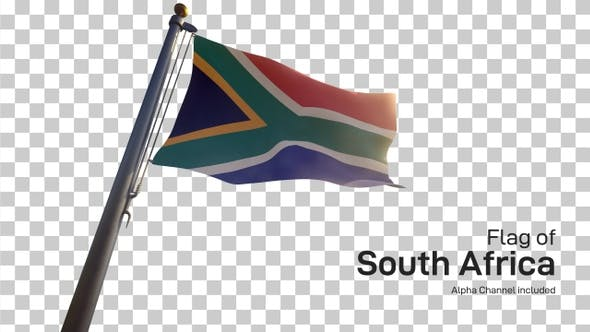 South Africa Flag on a Flagpole with Alpha-Channel