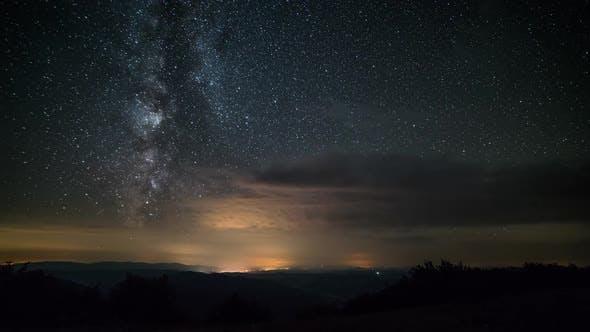 Milky Way Galaxy Stars in Starry Night