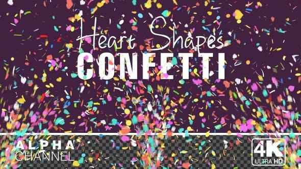 Heart Shape Celebration Confetti Particles