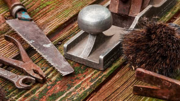 Thumbnail for Old vintage hand tools on wooden background.