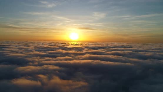 Epic Aerial above Clouds and Fog, Movement Back