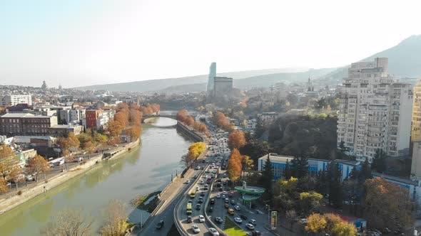 Thumbnail for Aerial Timelapse shooting of Tbilisi. Galaktion Tabidze Bridge. Georgia