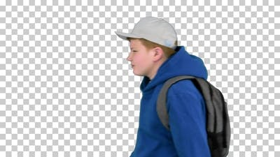 Schoolboy with backpack walking by, Alpha Channel