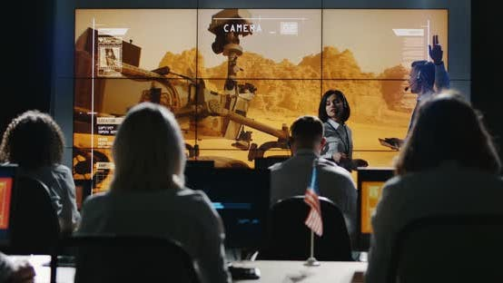 Thumbnail for Mission Leader Giving Briefing in Control Room