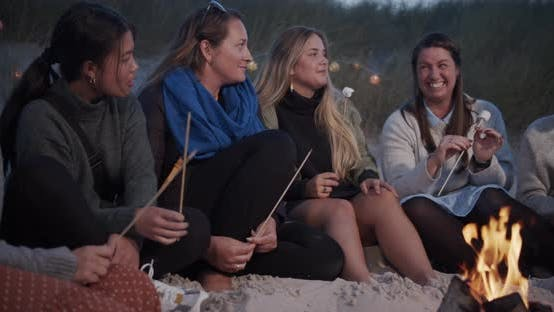 Thumbnail for A Simple Group of Friends Having a Conversation By the Beach Bonfire