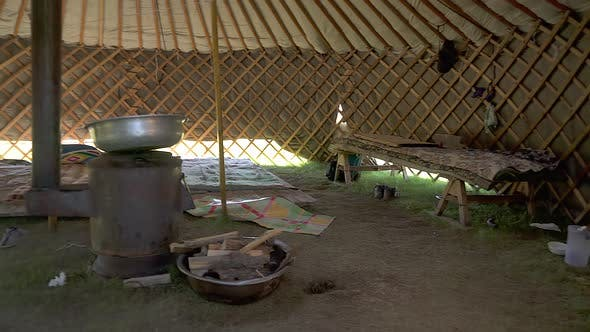 Inside View of a Traditional Real Ger in Mongolia