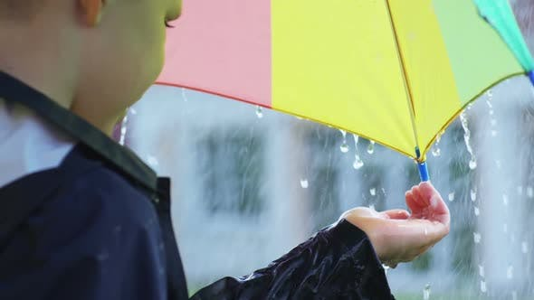 Thumbnail for Boy with Umbrella Catching Raindrops