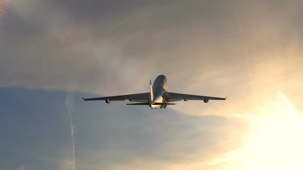 Cover Image for Passenger Airplane Is Climbing After Take Off During Scenic Sunset