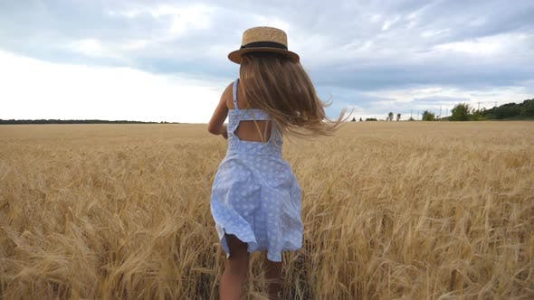 Beautiful Girl with Long Blonde Hair Running Through Wheat Field Turning To Camera and Smiling