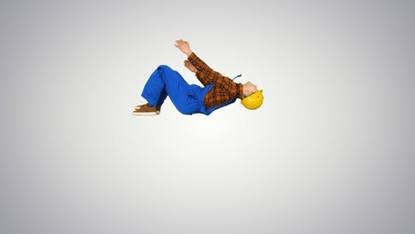 Thumbnail for Construction worker making a flip and folds hands looking