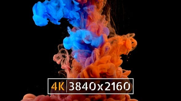 Thumbnail for Colourful ink drop black background