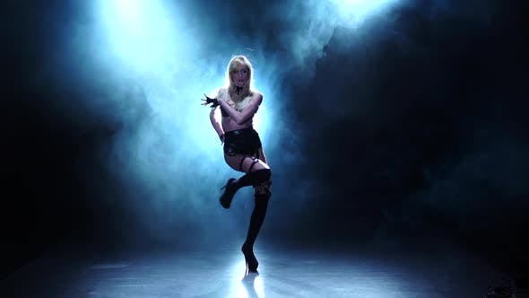 Thumbnail for Blonde Dancer Demonstrating Her Perfect Body. Smoky Studio, Slow Motion