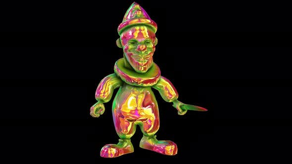 4K Neon glowing clown with alpha