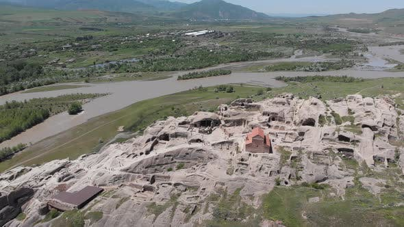Amazing aerial view of ancient town Uplistsikhe in Georgia.