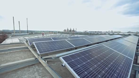 Solar energy farm on a rooftop