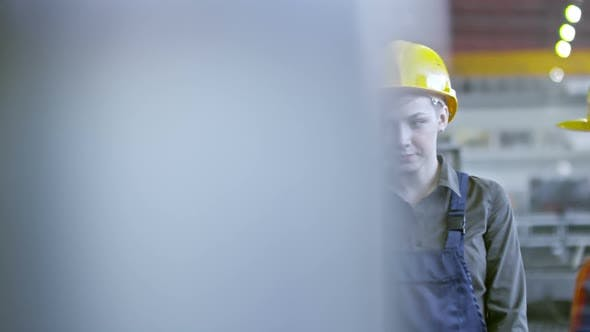 Cover Image for Experienced Female Factory Technician Teaching Young Employees