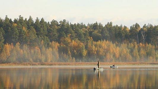 Thumbnail for Fishermen On Lake And Autumn Trees