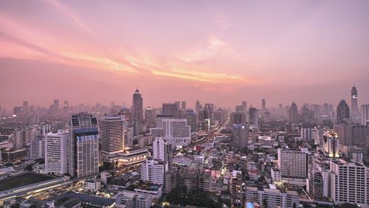 Thumbnail for Purple Sunset Over Hazy City Timelapse HDR