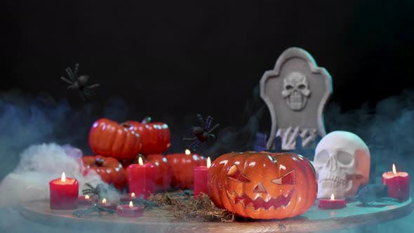 Thumbnail for Spooky Halloween Still Life Over a Black Background