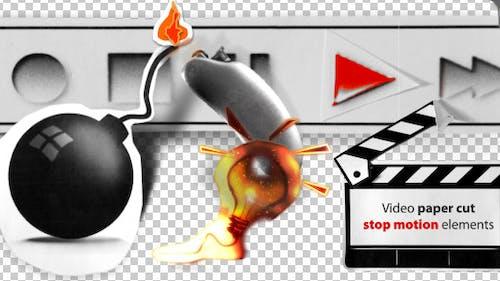 Stop Motion Video Paper Cut Elements