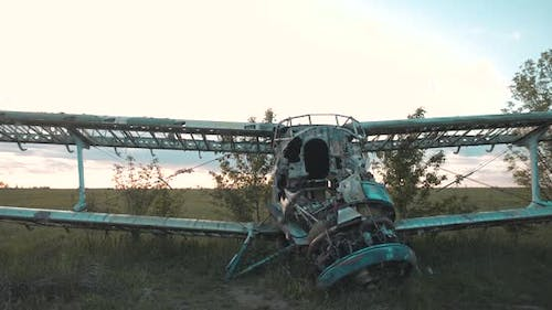 Close-up View of Disassembled Fuselage of Old Skeleton of USSR Maize Plane Standing in Thick Grass