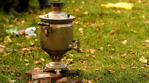 Russian Samovar With Boiling Water