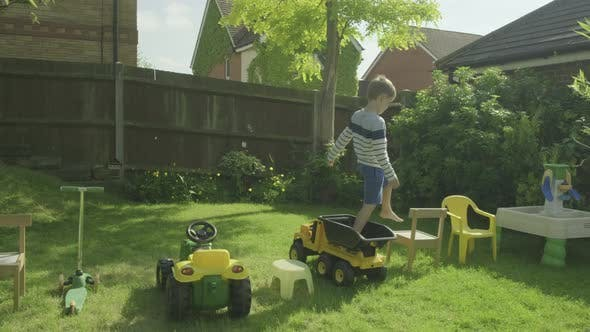 Boy on obstacle course