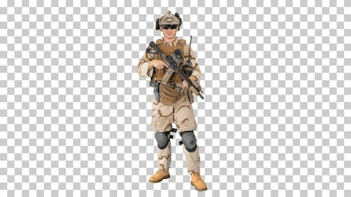 Soldier standing and talking to you, Alpha Channel