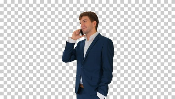 Thumbnail for Handsome young businessman talking on the phone, Alpha Channel