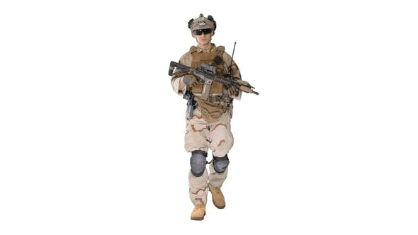Thumbnail for US Army Soldier in Combat Uniform Walking on White Background