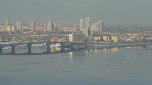 Paton bridge over Dnieper river in Kiev