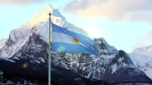 Flag of Argentina and the Andes Mountains.