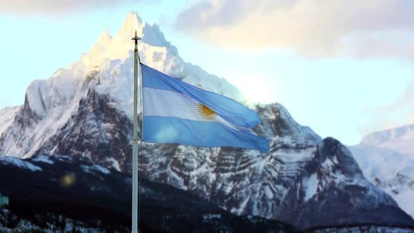 Cover Image for Argentina Flag Waving With A Mountainous Background.