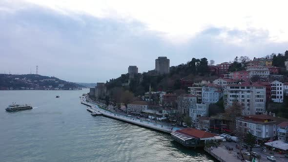 Thumbnail for Istanbul Bosphorus Old Rumeli Fortress Aerial View