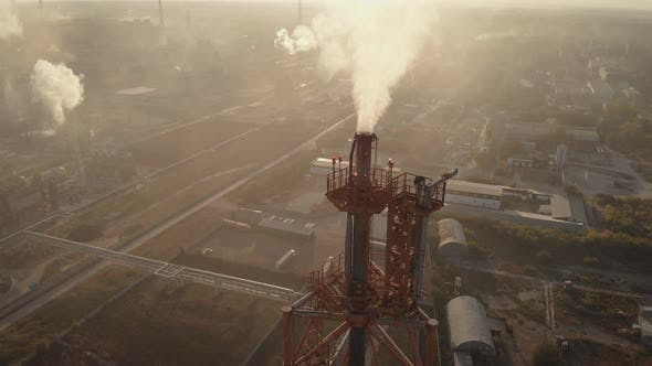 Thumbnail for Aerial View. In the Frame Is a Chemical Industrial Complex. Poisonous Smoke Comes Out of the Chimney