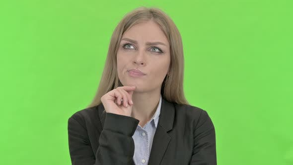 Thumbnail for Ambitious Businesswoman Thinking About Something Against Chroma Key