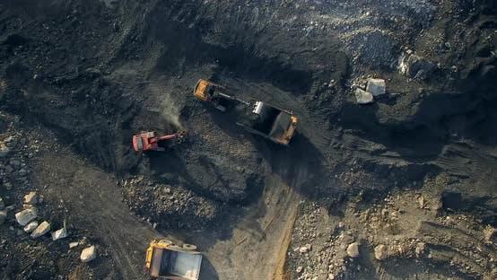 Thumbnail for Excavator Loads Coal Yellow Dump Truck