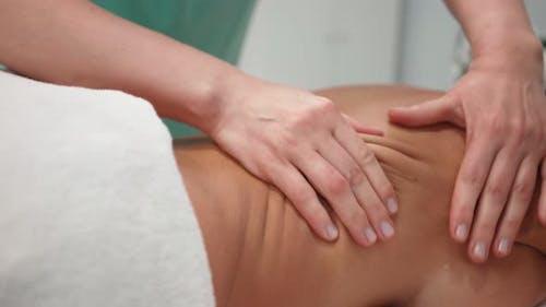 Female Masseuse Doing Professional Therapeutic Massage Beautiful Woman Spa Salon