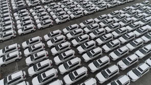 Aerial Video Footage Of Car Ro Ro Terminal Yard V2