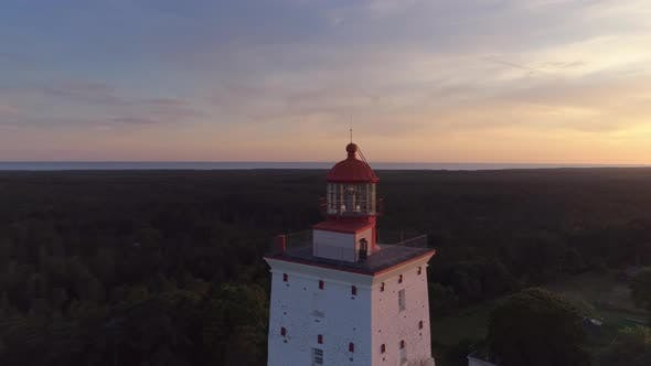 Thumbnail for Old Lighthouse At Sunset Aerial Shot