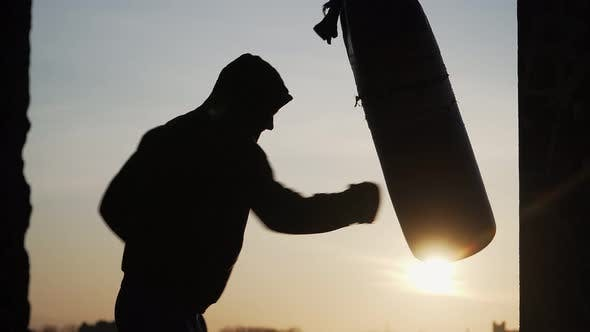 Thumbnail for Silhouette of a Boxer on a Sunset Background. Beats Punching Bag To Failure. Fatigue After Training