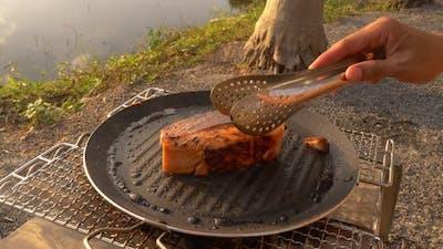 Salmon Grill At Camping
