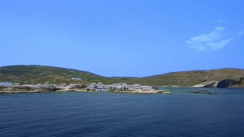 Panning View of Milos Island Greece on Clear Sunny Day