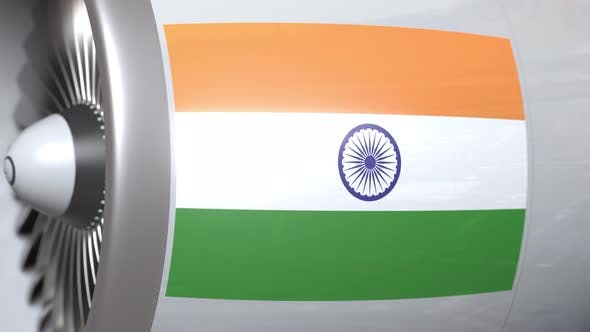 Cover Image for Airplane Engine with Flag of India