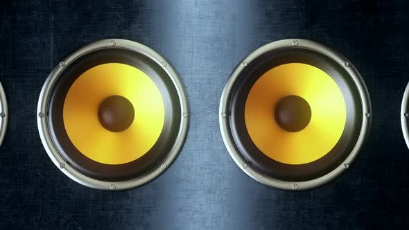 Thumbnail for Audio Speakers with Yellow Membranes Playing Modern Music at 90Bpm Seamless Loop