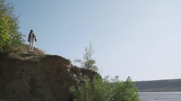 Beautiful Woman Enjoying Scenic View of Dniester Canyon