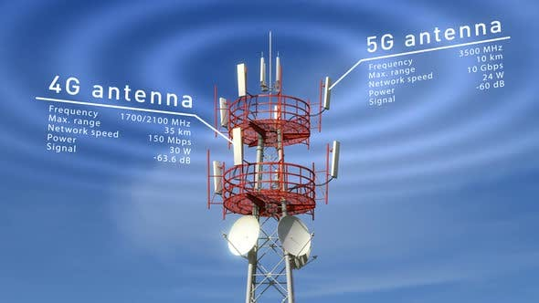 Thumbnail for Cellular Telecommunication Tower with Radio Waves Visible Against Blue Sky