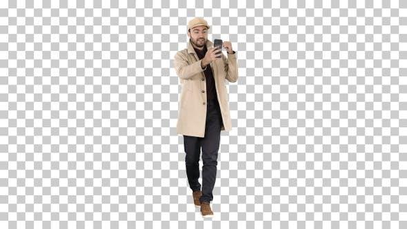 Thumbnail for Autumn Fashion Style Man Recording Video Blog Walking Alpha